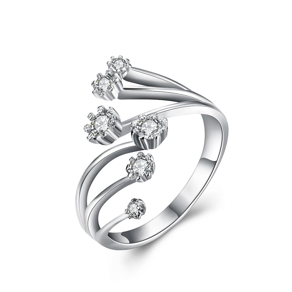 7072b4f7d Red Nymph Fashion 925 sterling silver opening ring with six white ...