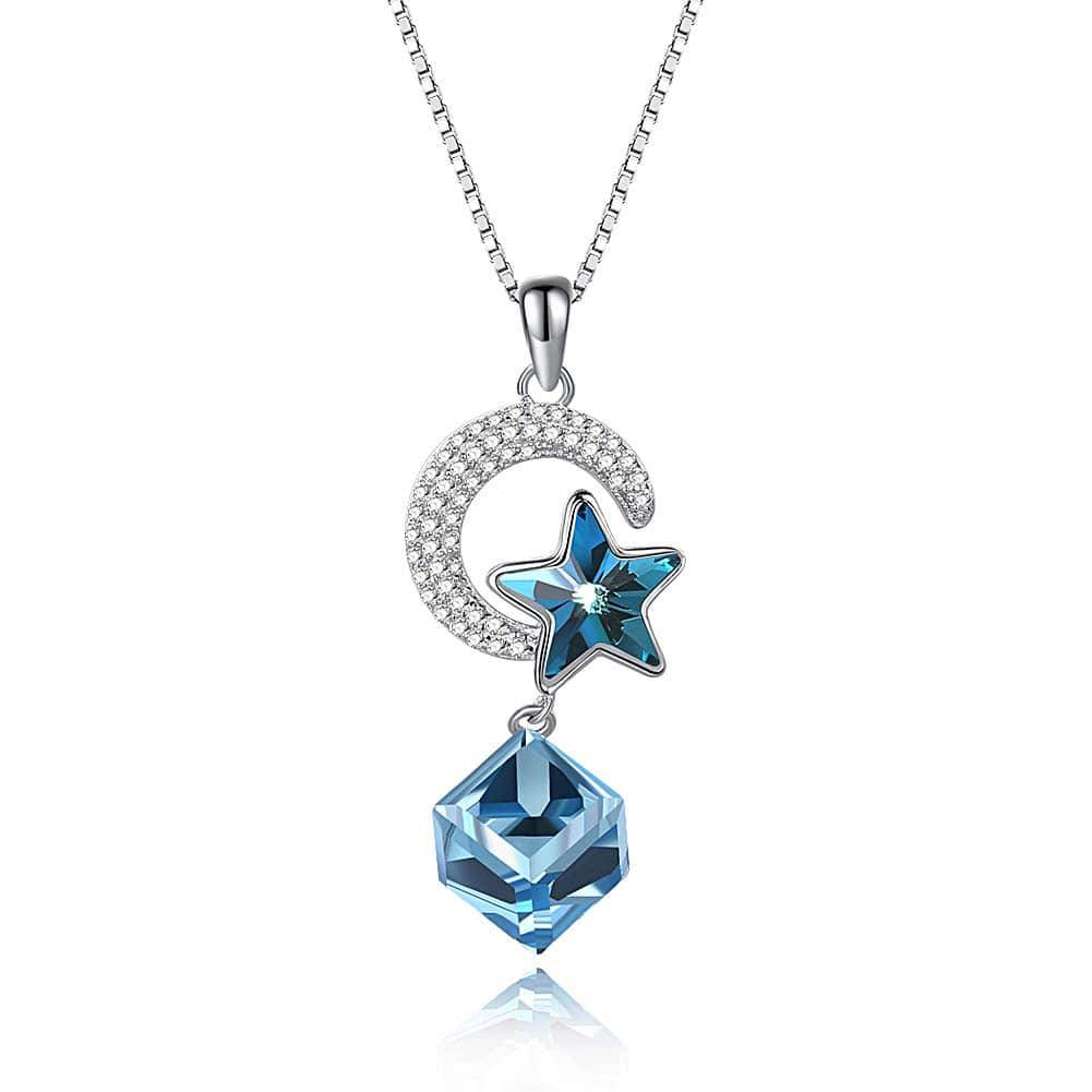 bcd955521 ... Fashion 925 Sterling Silver Necklace with Blue Crystal and Silver Moon  Pendants. ; 