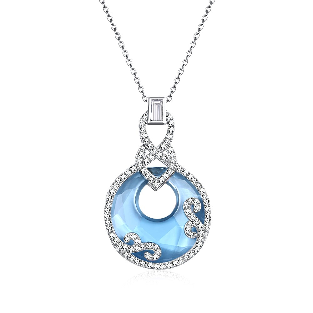 0c0ea70e5 ... Fashion 925 Sterling Silver Necklace with Blue Crystal Gourd Pendant.  ; 